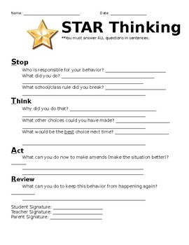STAR Thinking Behavior Time Out Form