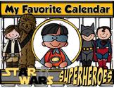 "STAR WARS & SUPERHEROES 8.5x11"" Student Calendar {Homeschool/Centers}"