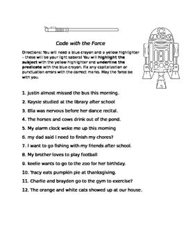STAR WARS Subject and Predicate Sheet