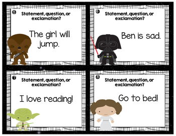 STAR WARS Themed Sentence Type Identification Task Cards