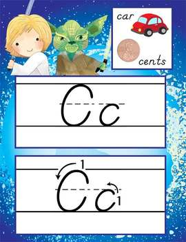 STAR WARz - Alphabet Cards, Handwriting, D'Nealian, ABC cards with pictures