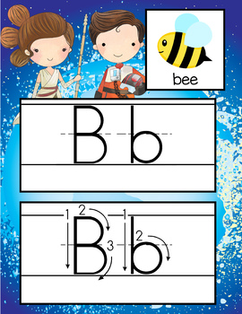 STAR WARz - Alphabet Cards, Handwriting, Flash Cards, ABC print with pictures