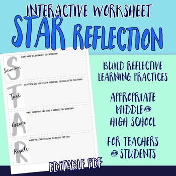 Editable STAR Worksheet | Interview Prep | Reflection Tool Student & Teacher