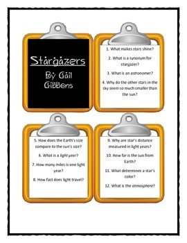 Gail Gibbons STARGAZERS - Discussion Cards