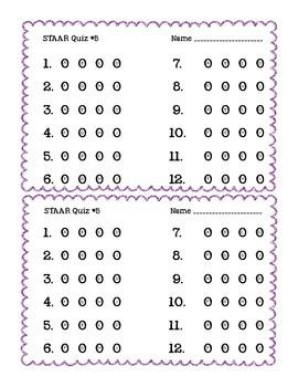 STAAR Quiz #5 - Third Grade Math