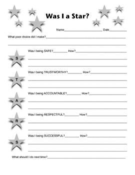 STARS think sheet, PBIS, Behavior Intervention