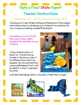 STATE REPORT- Make a FLOAT State Report - Fun Easy Directions Artistic Creative