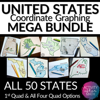 STATES Coordinate Graphing Pictures HUGE BUNDLE