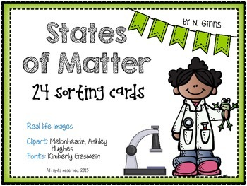 STATES OF MATTER 24 Sorting Cards Activity for solids, liquids and gases
