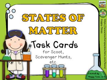 STATES OF MATTER Task Cards Set for scoot, hunt (solid, li