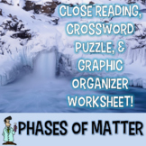 STATES & PHASES OF MATTER READING, INTERACTIVE NB, CROSSWORD, WORKSHEET TEKS 5.5
