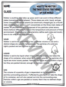 STATES & PHASES OF MATTER READING, INTERACTIVE NB, CROSSWORD, WORKSHEET TEKS 5.5