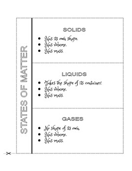 STATES of MATTER - Chart, Foldable, Sort Activity & Assessment