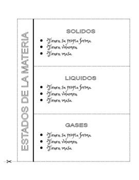 STATES of MATTER - Chart, Foldable, Sort Activity & Assessment -Spanish