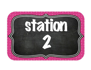 STATION NUMBER SIGNS - CHALKBOARD THEME