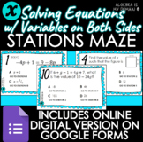STATIONS MAZE - Solving Equations Variables on Both Sides