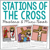 STATIONS OF THE CROSS Posters and Mini Book, Holy Week, Ea