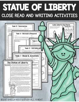STATUE OF LIBERTY, CLOSE READS UNIT, COLLABORATIVE POSTER, WRITING ACTIVITY