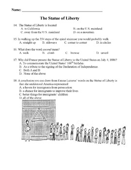 STATUE OF LIBERTY Mini-Lesson 18 Multiple Choice READING COMPREHENSION Questions