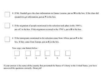 STATUE OF LIBERTY & POET EMMA LAZARUS: Info Text & Puzzle + Web Quest