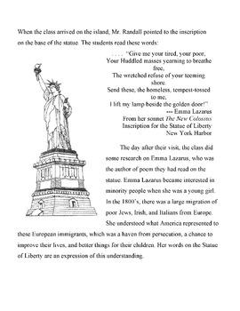 Statue Of Liberty Poet Emma Lazarus Info Text Puzzle Web Quest
