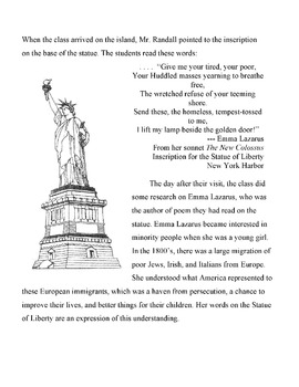 STATUE OF LIBERTY & POET EMMA LAZARUS: Info Text & Puzzle