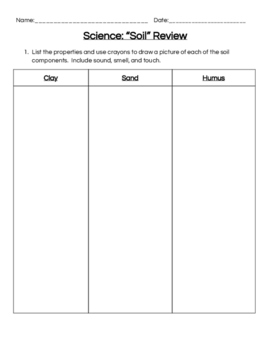 STC Soils Kit Review Sheet for End of Unit