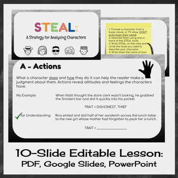 STEAL Characterization - Lesson and Activities