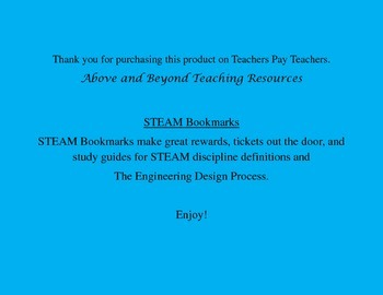 Steam Bookmarks With The Engineering Design Process By Above And Beyond
