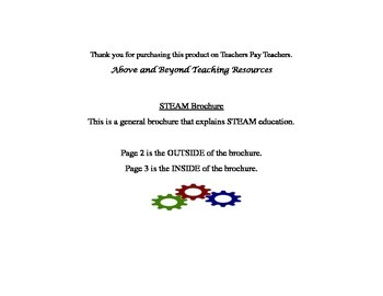 **STEAM Brochure** Great for parents, teachers, and students!