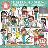 STEM Clip Art Bundle: Middle School / Teen Kids & Science