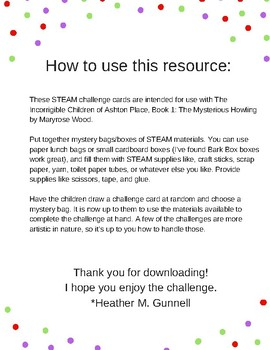 STEAM Challenge Cards for use with The Mysterious Howling by Maryrose Wood