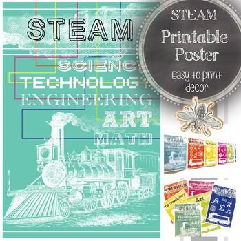 STEAM Classroom Poster: Science, Technology, Engineering, Art, Math Design