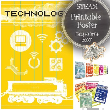 STEAM Technology Classroom Printable Poster: Bright and Modern Decoration