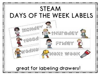 STEAM Days of the Week Drawer Labels