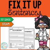 STEAM Editing Sentences: First Grade, Capitalization, Punctuation, Spelling