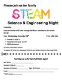 STEAM Family Night Flyer