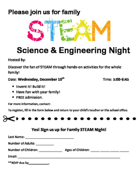 STEAM Family Night Flyer