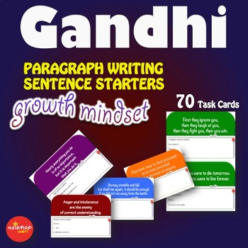 Luminaries-NO PREP-Growth Mindset Paragraph Writing Sentence Starters GANDHI