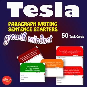 STEAM Growth Mindset Paragraph Writing Sentence Starters TESLA