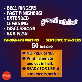 Luminaries-NO PREP-Growth Mindset Paragraph Writing Sentence Starters TESLA
