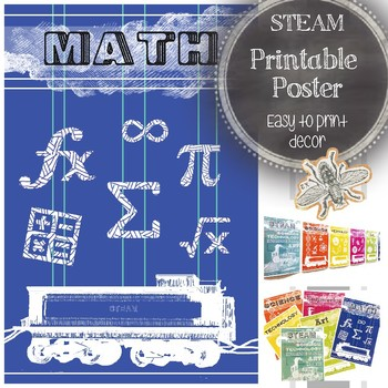 STEAM Math Classroom Poster: Modern Bulletin Board Ideas