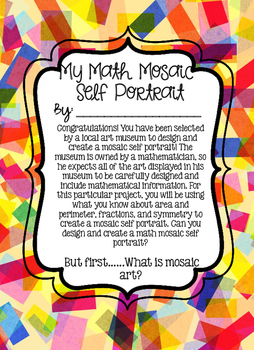 STEAM-Math Mosaic Self Portraits: An area, perimeter, symmetry & ART challenge!