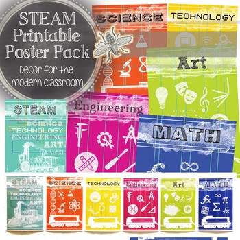 STEAM Printable Poster Pack: STEAM, Science, Tech, Engineering, Art, Math