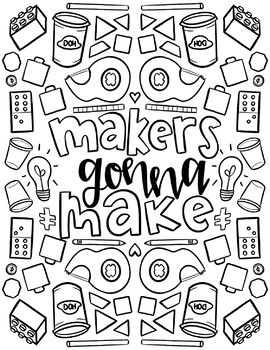 STEAM/STEM Coloring Sheets for Makerspace | hand-drawn by hipsterartteacher