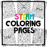 STEAM/STEM Coloring Sheets for Makerspace | hand-drawn by