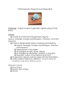 STEAM STEM Geometry Programming Design Brief Project Computer Science EDITABLE