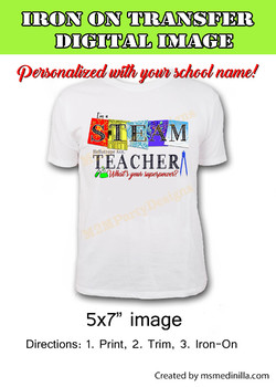 STEAM / STEM, Science Iron on Transfer, Personalized Digital Image.