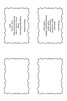 STEAM / STEM task carks with material lists. - simple science