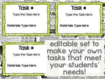 Maker Space Task Cards (Simple STEAM Newspaper)
